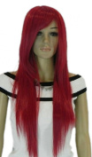 Yazilind Long Straight Copper Red Heat Resistant Fibre Synthetic Hair Full Cosplay Anime Costume Wig