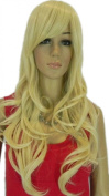 Yazilind Long Wavy Curly Yellow Blonde S Heat Resistant Fibre Synthetic Hair Full Cosplay Anime Costume Wig