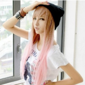 2013 New Two Tone Long Straight Heat Resistant Highlights Hair Wigs Pink MJ051-1