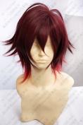 Amnesia Shin Cosplay Costume short dark red mix COS Wig