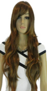 Yazilind Long Brown Straight Wavy Heat Resistant Fibre Synthetic Hair Full Cosplay Anime Costume Wig