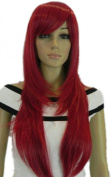 Yazilind Medium Long Copper Red Straight Layered Ramp Bang Heat Resistant Fibre Synthetic Hair Full Cosplay Anime Costume Wig