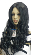 Yazilind Long Curly Wavy Black Heat Resistant Fibre Synthetic Hair Full Cosplay Anime Costume Wig