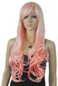 Yazilind Long Women's spink Wavy Heat Resistant Fibre Synthetic Hair Full Cosplay Anime Costume Wig
