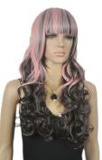Yazilind Medium Length Women's Long Wavy Wave Curly Curls Hair Cosplay Anime Costume Wig
