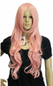 Yazilind Smoke Pink Long Curly Wavy Synthetic Hair Full Costume Wig