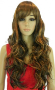 Yazilind Long Black Brown Mix Wavy Curly Heat Resistant Fibre Synthetic Hair Full Cosplay Anime Costume Wig