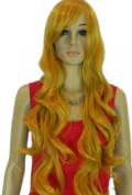 Yazilind Long Blonde Yellow Curly Wavy Synthetic Hair Full Costume Wig