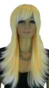 Yazilind Long Silver Yellow Orange Straight Heat Resistant Fibre Synthetic Hair Full Cosplay Anime Costume Wig