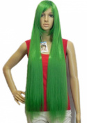 Yazilind Grass Green Long Straight Heat Resistant Fibre Synthetic Hair Full Cosplay Anime Costume Wig