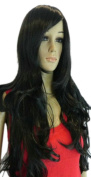 Yazilind New Style Sexy Black Woman/Lady Long Wavy Ramp Bang Hairnet Full Cosplay Anime Costume Wig