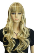 Yazilind Yellow Brown Mix Medium Long Wavy Curly Full Bangs Heat Resistant Fibre Synthetic Hair Full Cosplay Anime Costume Wig