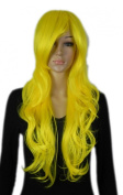 Yazilind Bright Yellow Long Wavy Curly Heat Resistant Fibre Synthetic Hair Full Cosplay Anime Costume Wig