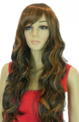 Yazilind Long Black Brown Mix Wavy Curly Side-Swept Bang Heat Resistant Fibre Synthetic Hair Full Cosplay Anime Costume Wig