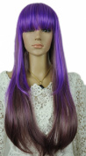 Yazilind Long Straight Purple Mix Full Bangs Fancy-Dress Heat Resistant Fibre Synthetic Hair Full Cosplay Anime Costume Wig