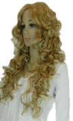 Yazilind Long Blonde Yellow Curly Wavy No Bang Heat Resistant Fibre Synthetic Hair Full Cosplay Anime Costume Wig