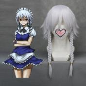 Medium TouhouProject-Izayoi Sakuya White Anime Cosplay wig COS-149A