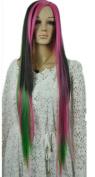 Yazilind Long Straight No Bangs Black Pink Green Mix Rainbow Full Hair Cosplay Anime Costume Wig
