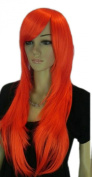 Yazilind Long Straight Orange Red Layered Heat Resistant Fibre Synthetic Hair Full Cosplay Anime Costume Wig