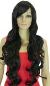 Yazilind Dark Black Long Wavy Curly Heat Resistant Fibre Synthetic Hair Full Wig