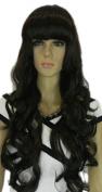 Yazilind Dark Black Long Curly Wavy Heat Resistant Fibre Synthetic Hair Full Cosplay Anime Costume Wig