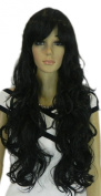 Yazilind Long Dark Black Wavy Curly Heat Resistant Fibre Synthetic Hair Full Cosplay Anime Costume Wig