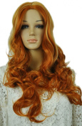 Yazilind Women Hot Brown Mix Long Wavy Curly No Bangs Fancy-Dress Party Full Hair Cosplay Anime Costume Wig