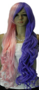 Yazilind Pink Purple Half Mix Wave Wavy Long Heat Resistant Fibre Synthetic Hair Full Cosplay Anime Costume Wig