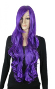 Yazilind Long Wavy Curly Purple Lavender Fancy-Dress Cosplay Synthetic Hair Full Wig