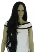 Yazilind Super Long Black Curly Wavy No Bangs Heat Resistant Fibre Synthetic Hair Full Cosplay Anime Costume Wig