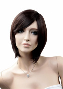 NAWOMI Women's Girls Wig Medium Brown Straight Side Bangs Party Cosplay Wigs