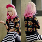 Light Flaxen+ Pink Long New Women Full Fashion Hair Wig Curly Wavy Sexy Cosplay