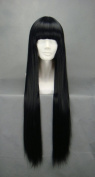 Wigny Elegant 80cm Straight Black Wig With Neat Bangs