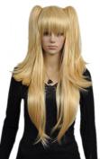 Yazilind Long Straight Blonde Yellow Two Ponytail Loli Lolita Full Hair Cosplay Anime Costume Wig