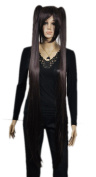 Yazilind Extra Long Grey Straight Two Ponytail Fancy-Dress Party Full Cosplay Anime Costume Wig