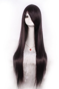 L-email 80cm Long Black Straight Cosplay Hair Wig Cw280-i