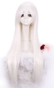 L-email 80cm Long White Straight Cosplay Hair Wig Cw280-g