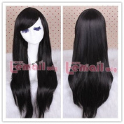 80cm Long Black Straight Cosplay Hair Wig Cw109-d
