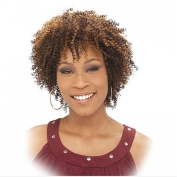 IT'S A WIG Human Hair Wig - AFRO CURL Colour - #1B. Black/Medium Brown Red