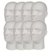 8pc A1Pacific 28cm Male STYROFOAM FOAM MANNEQUIN head wig display hat glasses