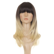 Ombre Long Straight Feather Cut Wig | Brown graduating to Blonde Tips |70s Inspired Hair | Face Framing Style