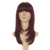 Deep Red Long Feather Cut Wig | 70s Inspired Hair | Face Framing Style