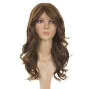 Long Wavy Human Hair Blend Wig | Side Swept Fringe | Nicole Scherzinger Hairstyle Wig | 2 shades