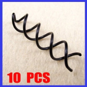 10 PCS Black Spiral Spin Screw Pin Hair Style Design Curly Clips Twist Barrettes