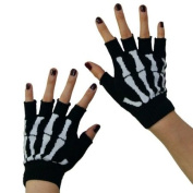 New Black Punk Gothic Dark Rock White Skeleton Hand Warmer Half Finger Gloves