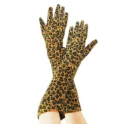 New Luxury Leopard Print Long Arm Warmer Dress Real Leather Gloves/lady Gaga Kim Size L