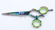 Supreme 14cm Rainbow Titanium Swivel Thumb Hairdressing Scissors, Barber Shears