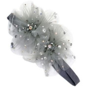 Tarina Tarantino - Fashion Couture - Starchild Odyssey Collection. Crystal Paisley Peacock Tulle Flower Headband - Grey #HB01F8-1
