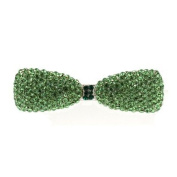 DoubleAccent Hair Jewellery Crystal Bowtie Barrette Green Colour