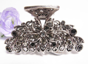 New Fashion Black Austrian Crystal Silver Tone metal Flowers/water drop Hair clips pins claws #298